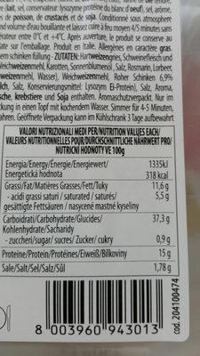 Fagottini - Informations nutritionnelles - fr