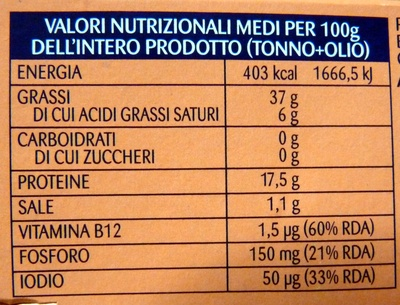 RIO MARE Tonno all'olio di oliva - Nutrition facts
