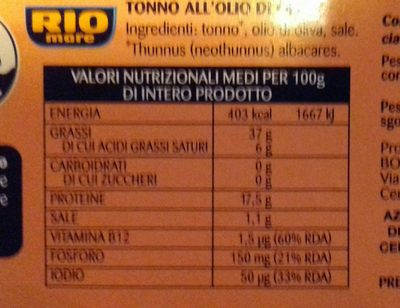 Tonno all'Olio di Oliva - Ingredienti