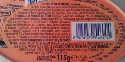 Pate de ton cu măsline - Ingredients - ro