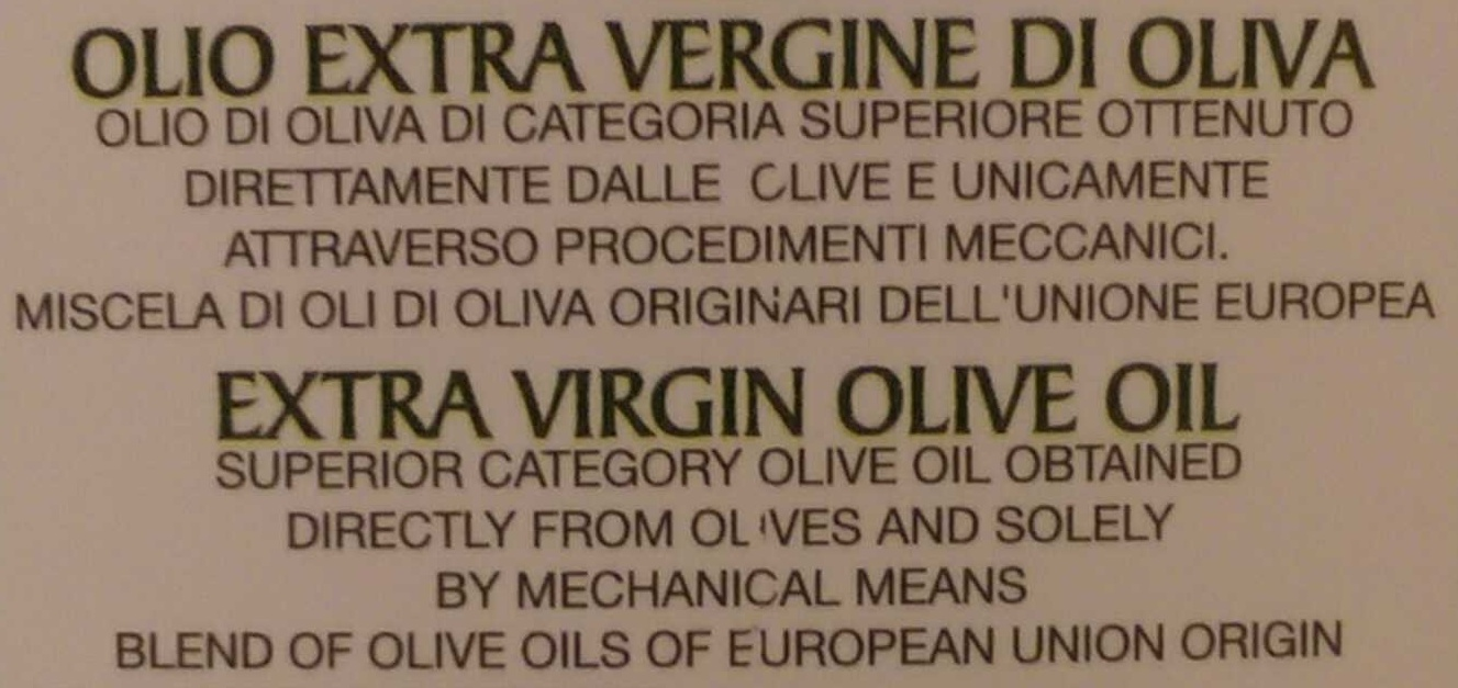 Olio extra vergine - Ingredients