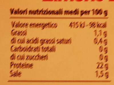tacchino limone e zenzero - Nutrition facts