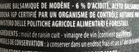 Vinaigre balsamique de Modena igp - Ingredients