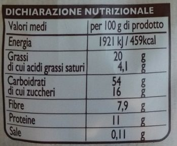 Granola con frutta secca - Nutrition facts
