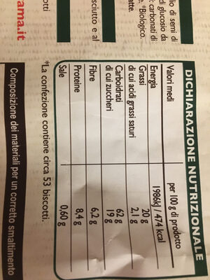 Frollino integrale - Nutrition facts - en