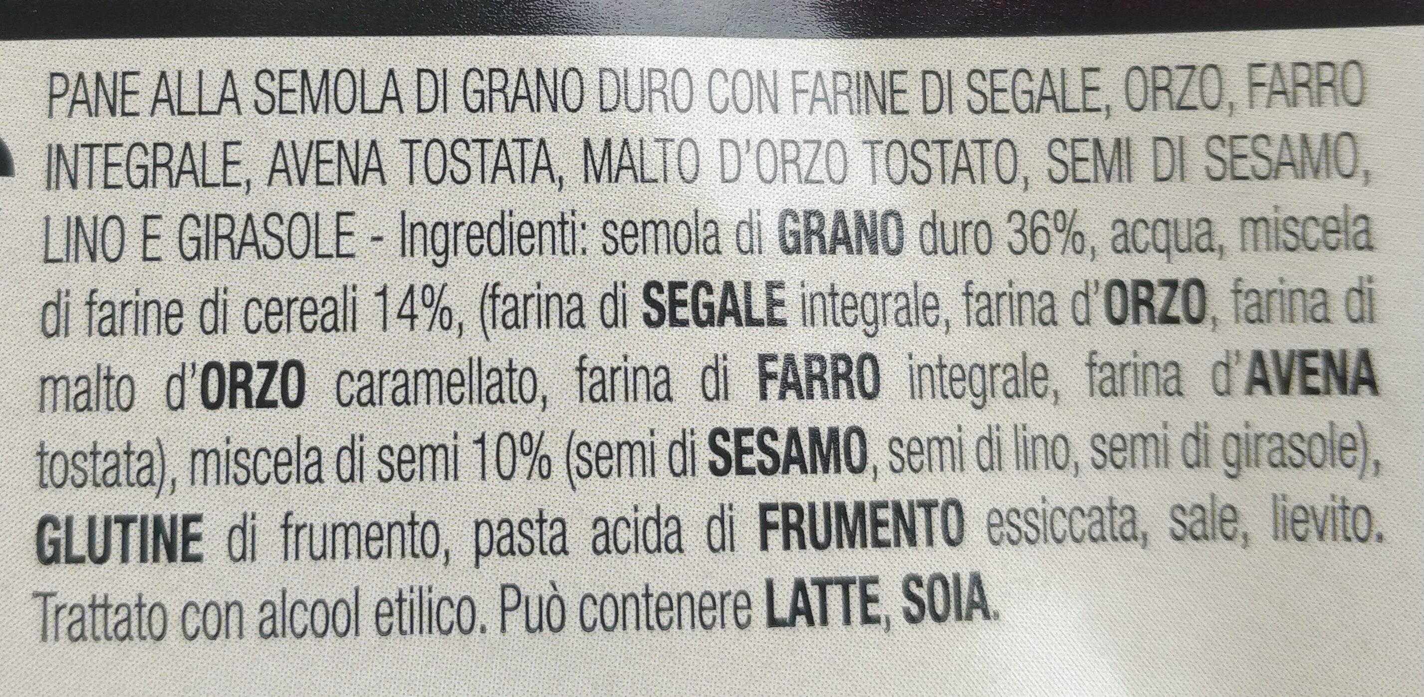 Multi cereali pane di semola di grano duro siciliano con mix di semi - Ingredients - it