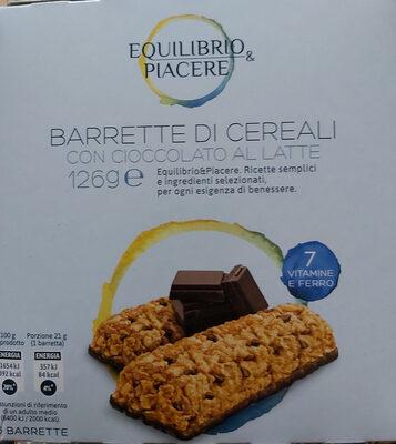 barrette di cereali con cioccolato a latte - Produit