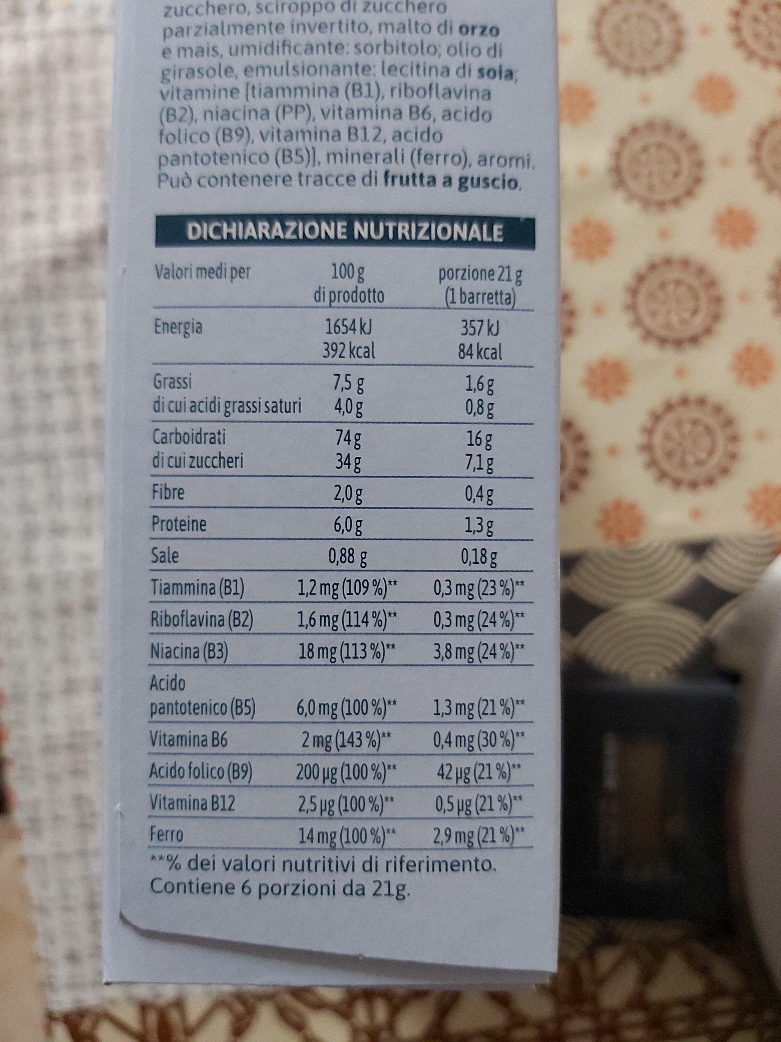 barrette di cereali con cioccolato a latte - Informations nutritionnelles