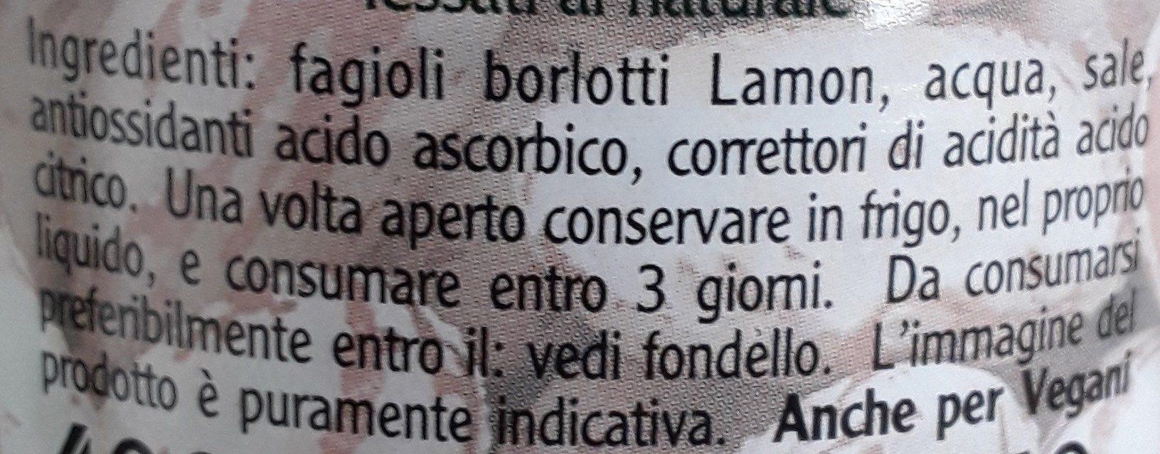 Fagioli Borlotti Lamon - Ingredienti