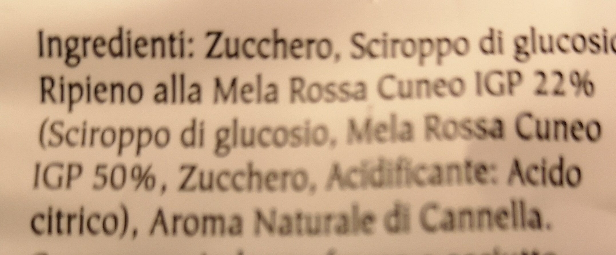 Caramelle ripiene alla mela rossa Cuneo - Ingrédients - it