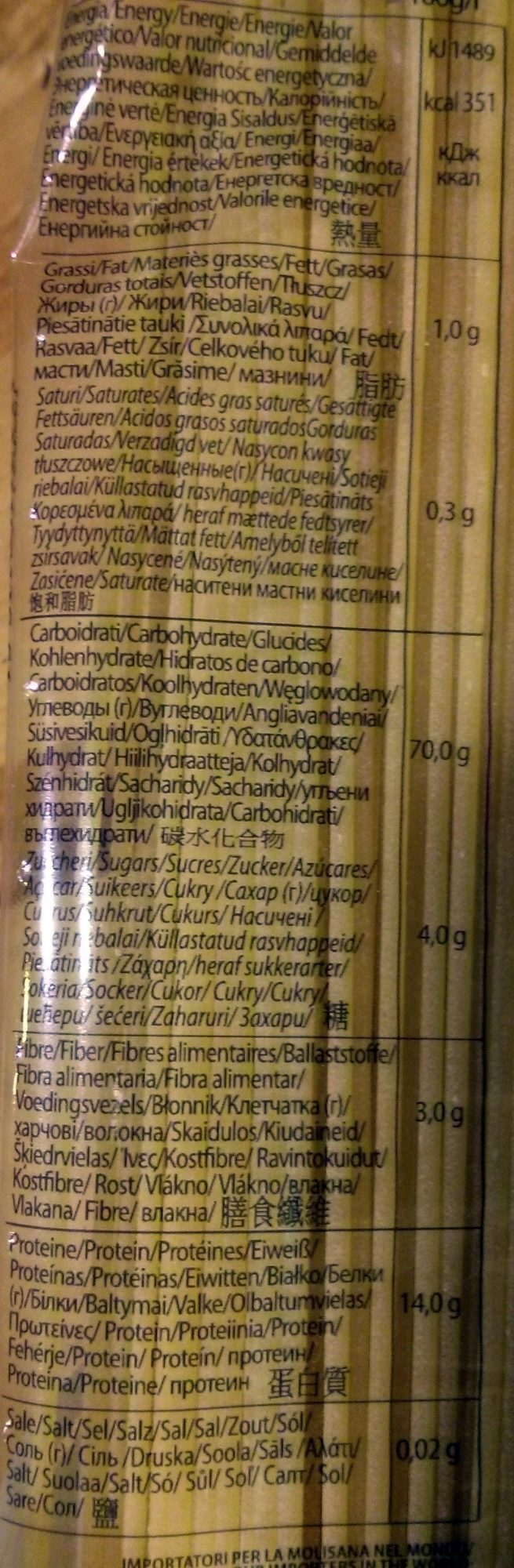 Spaghetti N°15 - Voedingswaarden - fr