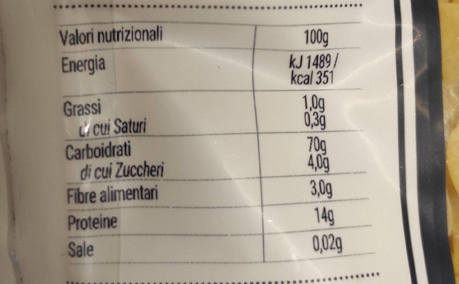 La Molisana Pasta Fantasia No.72 - Nutrition facts - fr