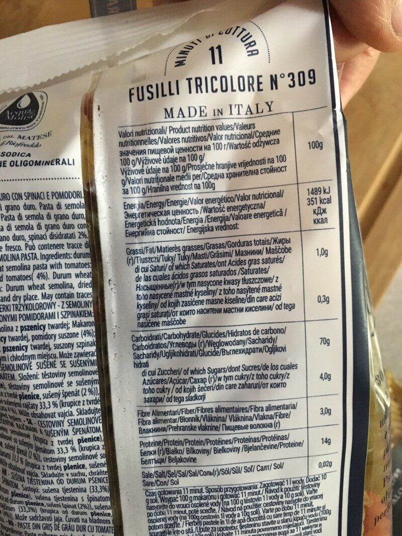 Fusilli tricolore nº309 - Nutrition facts - es