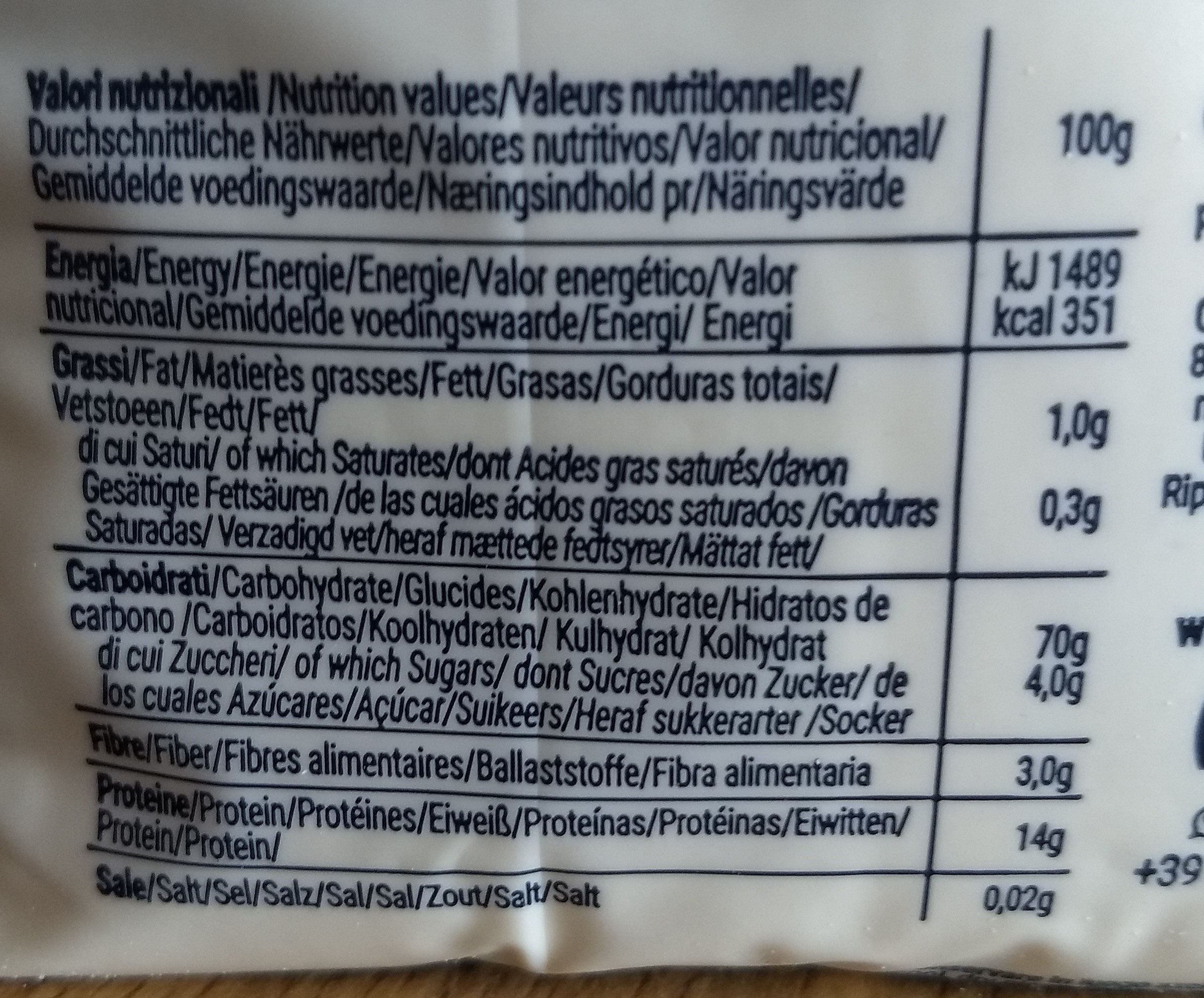 semola di grano duro - Nutrition facts - it