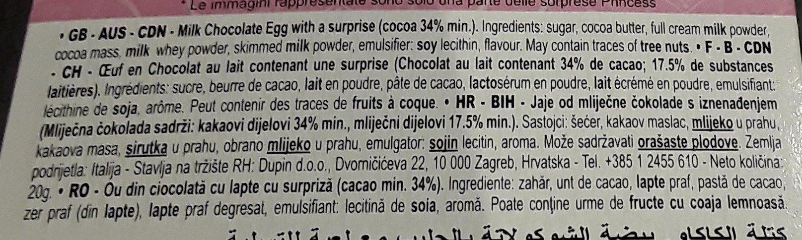 4 oeufs en chocolat - 成分 - fr