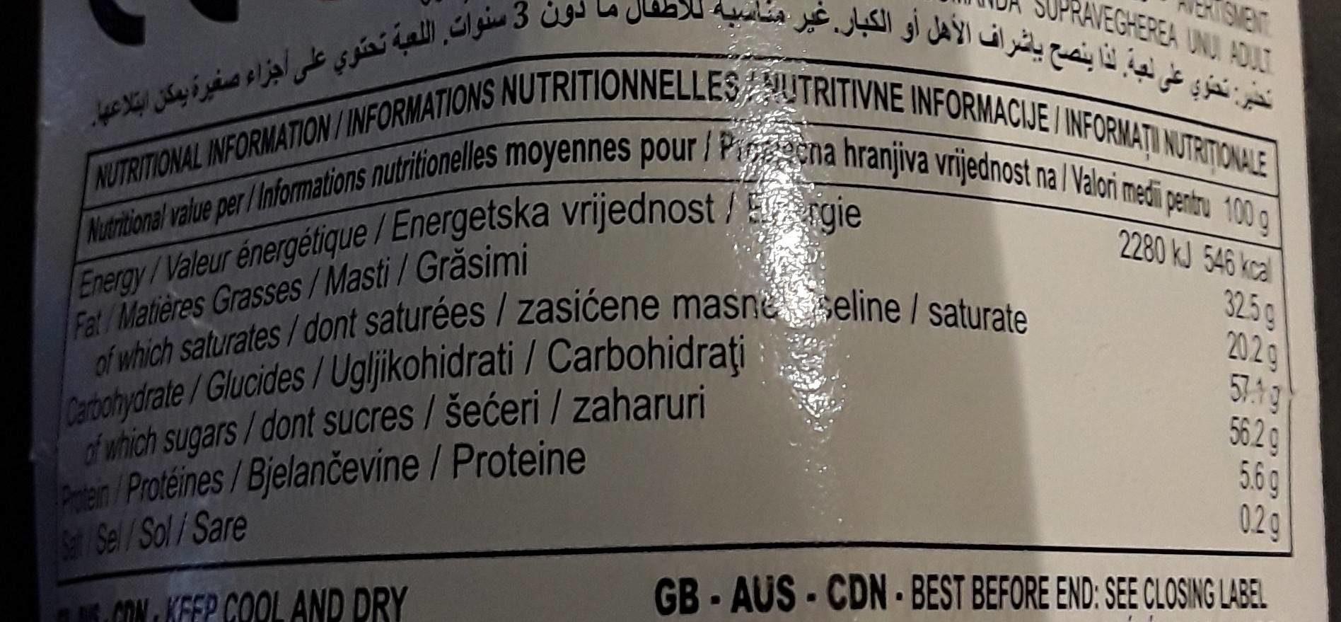 4 oeufs en chocolat - 营养成分 - fr