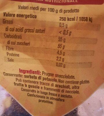 Prugne secche snocciolate Suni - Informations nutritionnelles - it