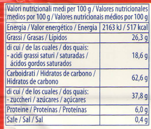 Poker Nocciola - Nutrition facts