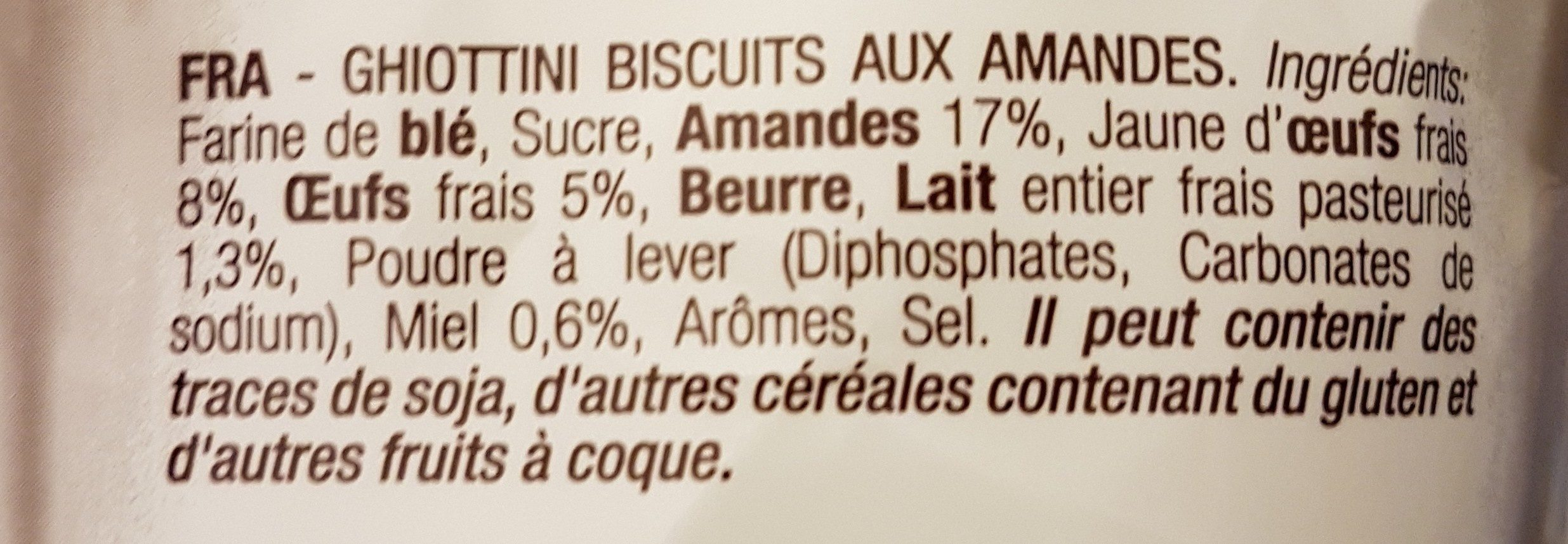 Ghiottini - Ingrediënten - fr