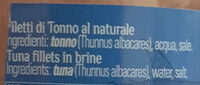 Filetti di Tonno al naturale - Zutaten - it