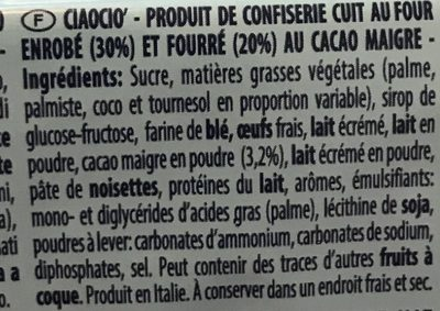 Gouter enrobé et fourré au cacao - Ingredients