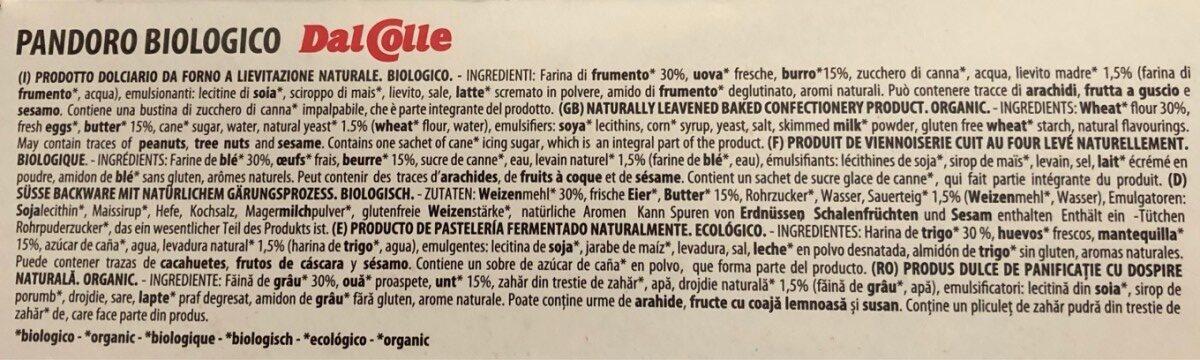 Pandoro biologico organic - Ingrédients - fr