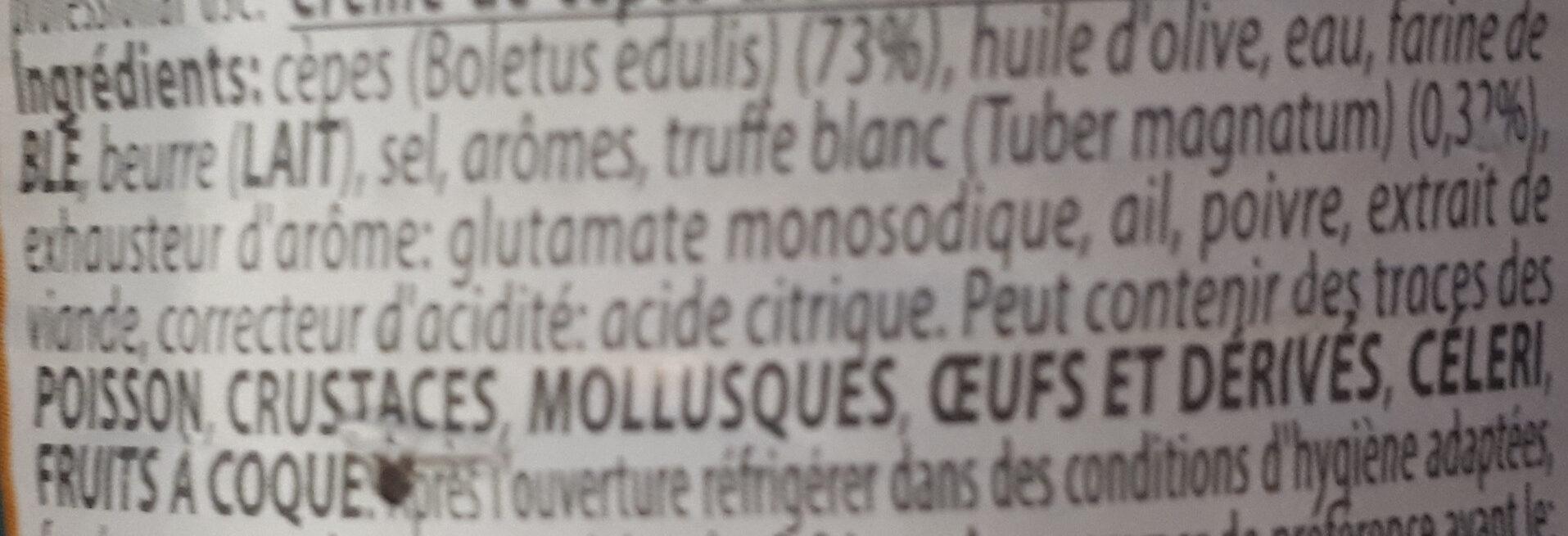 Crème de cèpes arômatisée à la truffe blanche - Ingrediënten - fr