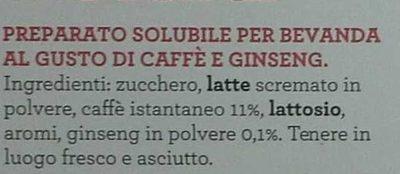 Caffè e ginseng - Ingredienti