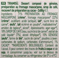Tiramisu bio - Inhaltsstoffe - fr