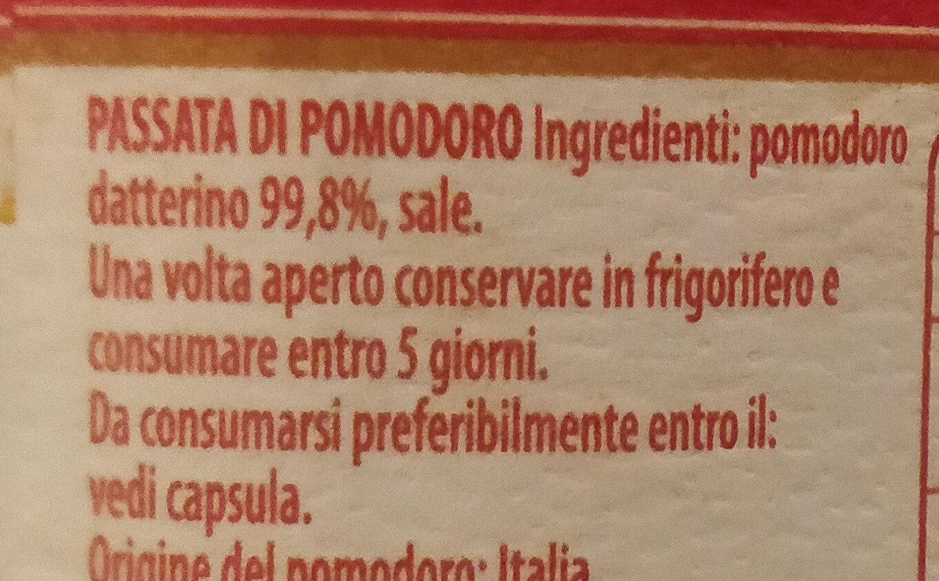 Passata emiliana delle campagne parmensi - l'armoniosa - Ingredients - it