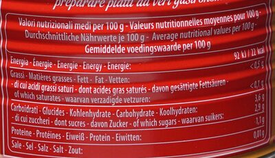Pelati - Nutrition facts - fr
