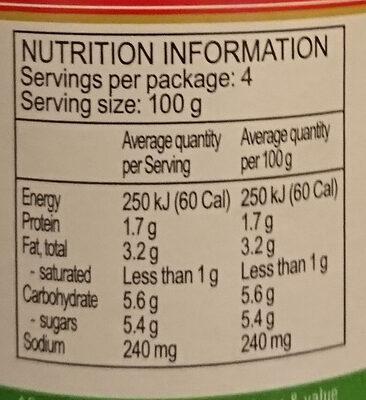 Sugo Semplice - Valori nutrizionali - en