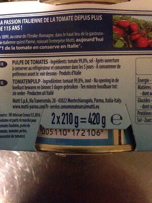Polpa (stückige Tomaten), 2 x 210G - Inhaltsstoffe