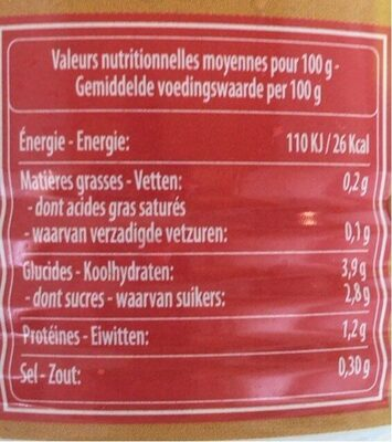 Mutti Pulpa Fina Tomate Ajo - Nutrition facts - fr