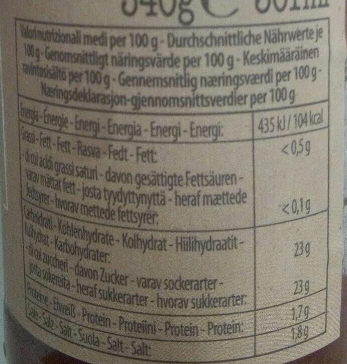 Mutti ketchup di pomodoro - Valori nutrizionali - it