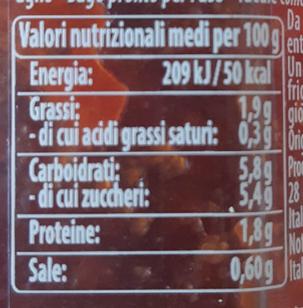 Mutti sugo semplice con peperoncino 280g - Voedingswaarden - it