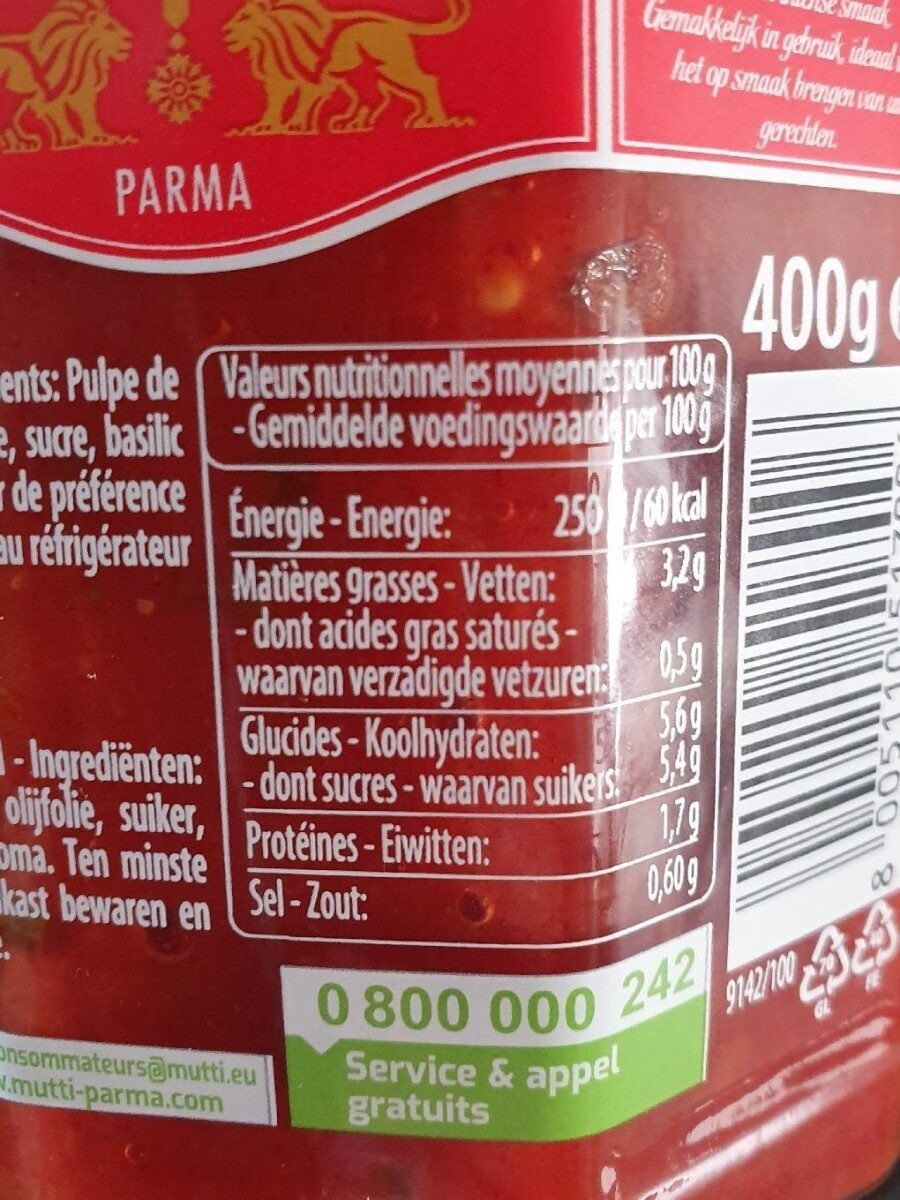 Solo Pomodoro Mutti basilico - Nutrition facts - fr