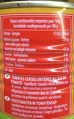 Tomates Cerises Mutti - Voedingswaarden - en