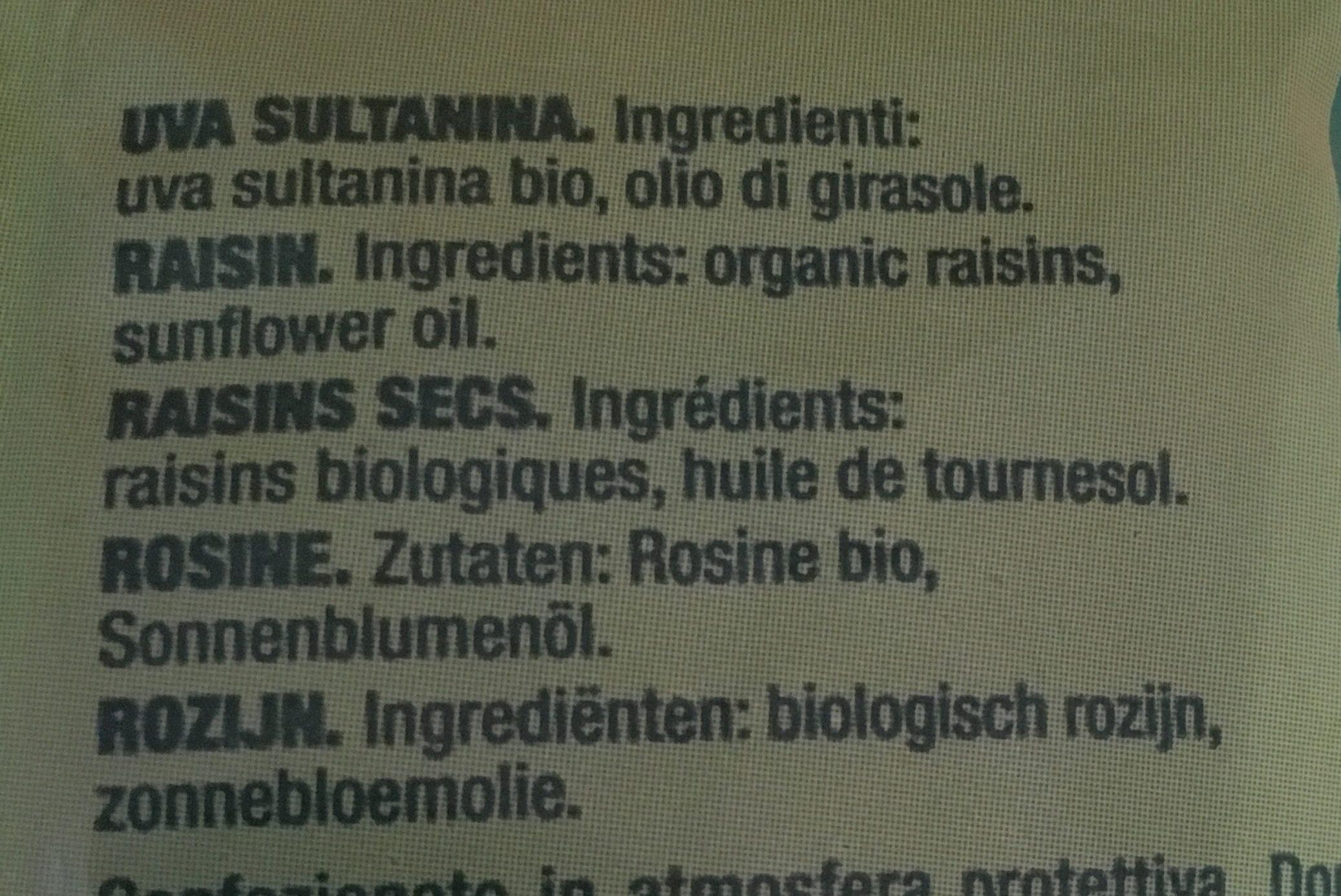 Pasas Sultanas Ecológicas - Ingrédients - fr
