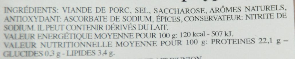 Jambon rôti aux herbes (cuit au four) - Informations nutritionnelles - fr