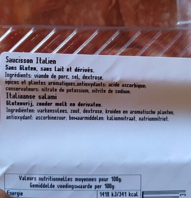 Saucisson italien - Ingredienti - fr