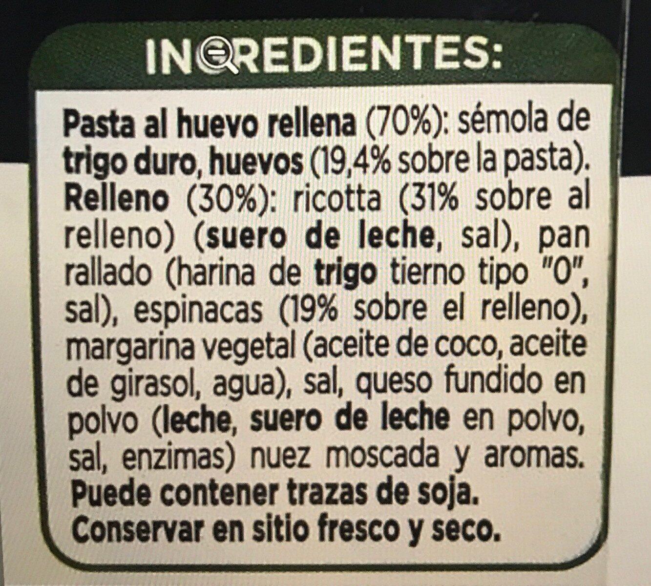 Tortelloni con ricotta y espinacas - Ingredientes