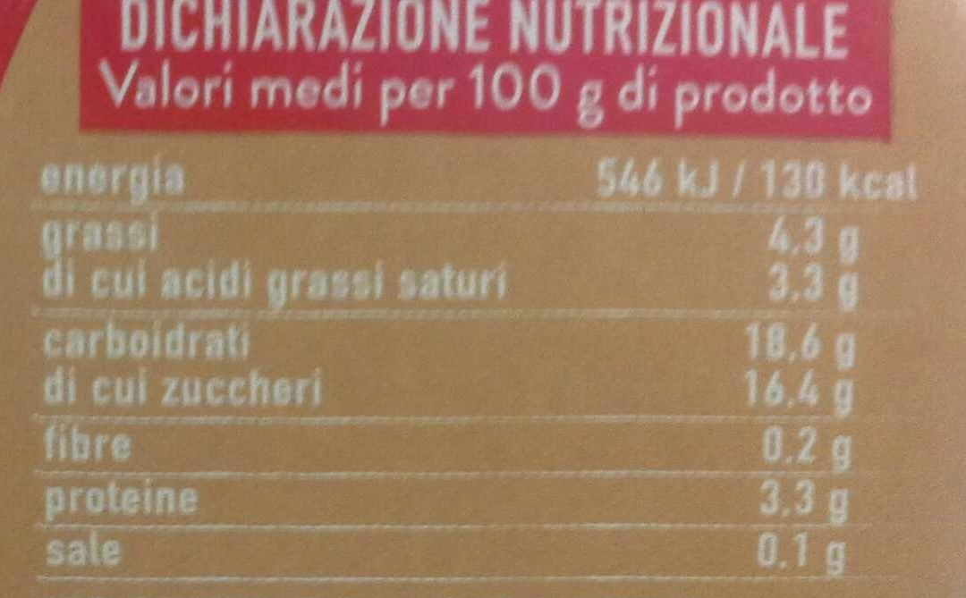 Biscotto ai 4 cereali - Nutrition facts
