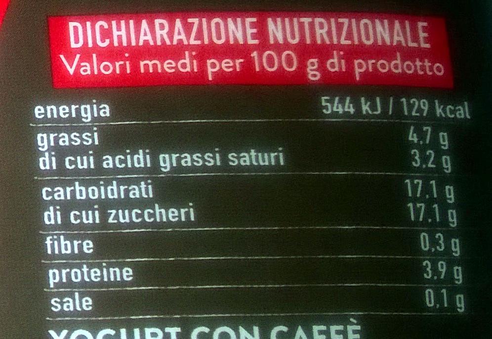Yaourt au café - Voedingswaarden - it