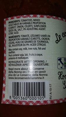 sauce tomate maison - Ingredients