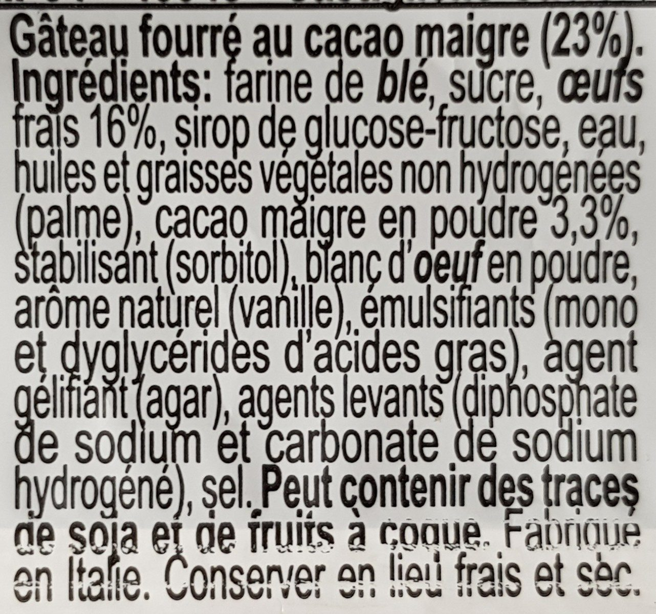 Dolcetto Cocoa Cream - Ingrédients - fr