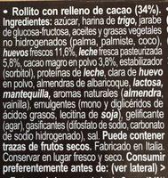 Swiss Roll praliné - Ingredients