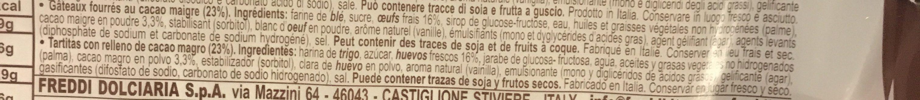 Dolcetto - gâteaux fourrés au cacao maigre - Ingrédients - fr