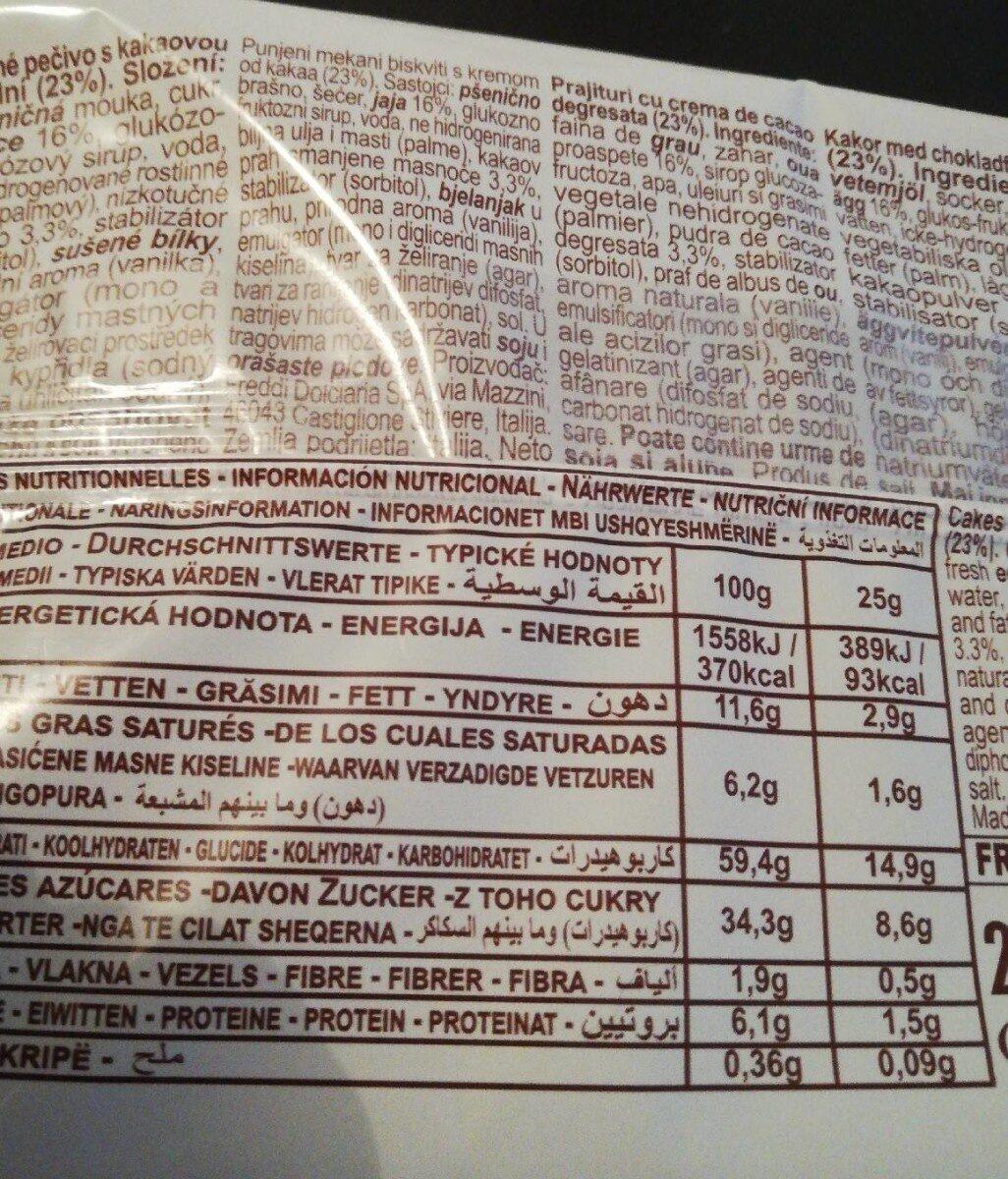 Dolcetto - gâteaux fourrés au cacao maigre - Informations nutritionnelles - fr