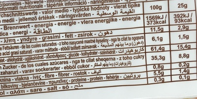 Dolcetto Apricot Cream - Nutrition facts - fr